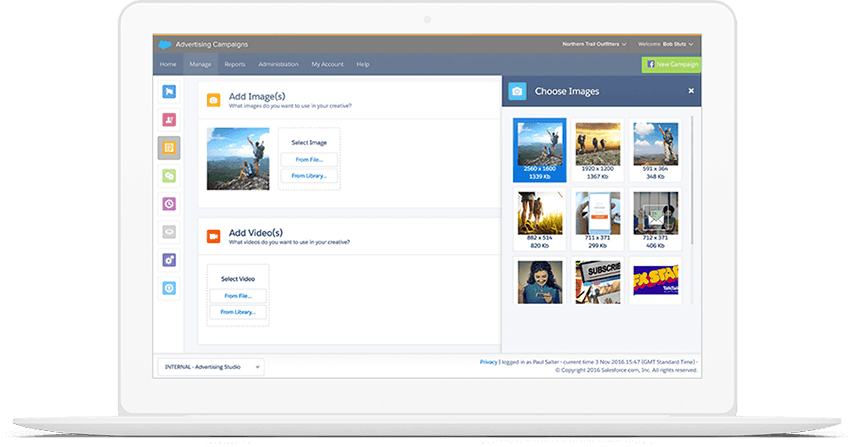 marketing cloud advertising studio screenshot